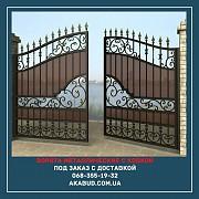 Ворота с ковкой металлические распашные с калиткой Киев