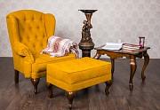 Кресло Терри для кабинета с пуфиком и журнальным столом из массива дерева доставка из г.Киев