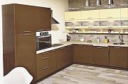 Большая угловая кухня Эко под заказ бежево-коричневая из г. Киев