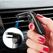 Магнитный Чёрный держатель для телефона в авто на решетку воздуховода из г. Борисполь