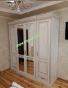 Белый 4х дверный классический шкаф Нино массив дуба