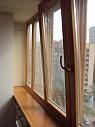 Остекление лоджий окнами из натурального дерева