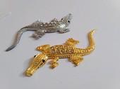 Наклейка металлическая Крокодил Украшение кузова,салона авто
