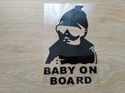 """Наклейка на авто Ребенок в машине""""Baby on board"""" Черная <b>Доставка з м. Бориспіль</b>"""