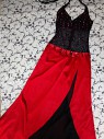 Платье вечернее макси на запа'х с разрезом black&red р.s